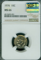 1976 Roosevelt Dime Ngc Mac Ms66 90ft 2nd Finest Mac Spotless Rare 3,000 In Ft.