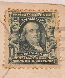 Series 1902 Benjamin Franklin 1 Cent Green Stamp Extremely Rare Dec 24th 1909