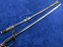 Original Antique M1850 Foot Officer`s Sword And Scabbard Made By Clauberg Solingen