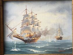 Small Oil On Canvas , Nautical Painting Signed Browne See Pictures , Nice