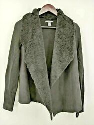 Chelsea And Theodore Womens Knit Jacket Black Open Front Faux Fur Acrylic Casual M