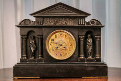 Monumental French Neoclassical Grand Tour Style Antique Marble Mantle Clock
