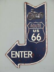 SignAdvertisement Sign Wall ArrowRoute 66 EnterMotorcycle15 11 16x9 13 16in