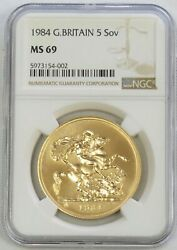 1984 Gold Great Britain 5 Pounds Sovereign St. George Coin Ngc Mint State 69