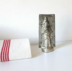 Chocolate Mold Antique Santa Clause With Toy Tin Mould Signed 5.55 Inches
