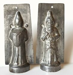 Chocolate Mold Antique Santa Clause With Toys Tin Mould Signed 5.75 Inches