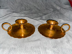 2 Vintage Avon Coppersmith Spun Hand Hammered Solid Copper Candlestick Holders