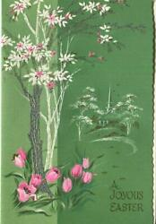 Vintage Pink Tulips White Silver Tree Church Green Easter Garden Greeting Card