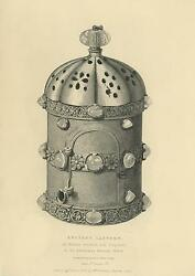Antique Print Of An Ancient Bronze And Crystal Lantern Light Old Rare Engraving