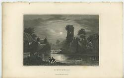 Antique Night Stars Boys Fishing Net Castle Cottage Topiary Germany River Print