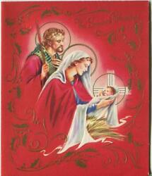 Vintage Christmas Red Gold Embossed Angels Holly Nativiy Mary Joseph Jesus Card