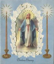 Vintage Christmas Virgin Mary Lady Of Grace Gold Candle Blue White Greeting Card