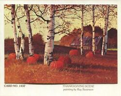 Vintage Thanksgiving Pumpkins Paper Birch Tree Country Ray Swanson Greeting Card