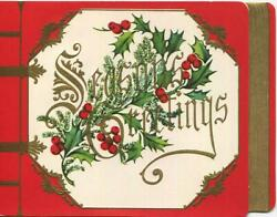 Vintage Christmas Embossed Gold Red White Green Faux Book Holly Greeting Card