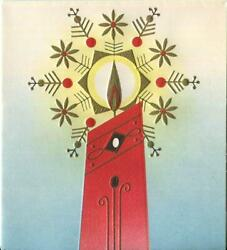Vintage Christmas Mid Century Modern Abstract Candle Snowflake Embossed Art Card