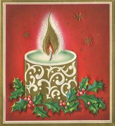 Vintage Christmas Embossed White Gold Candle Flame Holly Snowflake Greeting Card