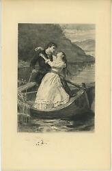 Antique Man Woman Row Bow Anchor Rescue Skull Fish Remarque Etching Art Print