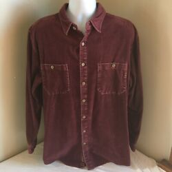 The Territory Ahead Mens Button Front Shirt Large Tall Lt Waffle Print Purple Fs