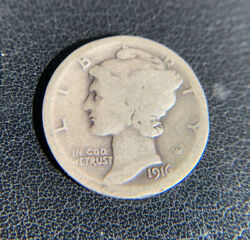 1916 D Mercury Silver Dime Strong Details Not Certified Very Nice Coin..
