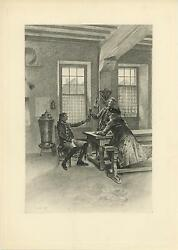 Antique Revolutionary Soldier Men Bench Cup Toast Good Cheer House Old Art Print