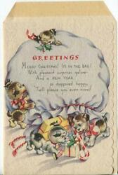 Vintage Christmas Puppies Puppy Dogs Plays W/ Presents Candy Cane Greeting Card