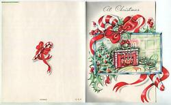 Vintage Christmas Old Fashioned Fireplace Tree Stockings Candy Cane Mcm Art Card