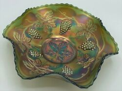 Northwood Carnival Glass Grape And Cable Bowl Green And Gold