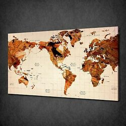Wooden Old World Map Vintage Canvas Wall Art Print Picture Poster Ready To Hang