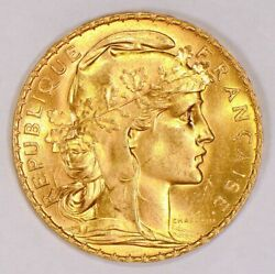 Lot Of 5 Bu Gold 20 Franc Roosters French Bullion Coins Pre-1933 Brilliant Unc