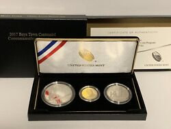 2017 3 Coin Proof Boys Town 5 Gold Two 1 Silver Commemorative Box And Coa