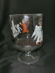 Vintage Halloween Candy Dish Glass Cup Goblet Action Industries Ghost Witch