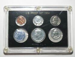 1964 Us Proof Set - Pointed 9 Dime - 5-coin In Vintage Capital Plastics Holder