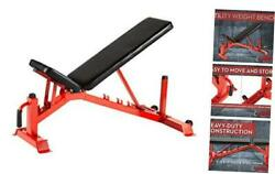 Utility Weight Bench – Adjustable – 1,000lb Rated For Weightlifting Red/black