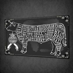 Blackboard Cut Of Beef Kitchen Canvas Wall Art Print Picture Ready To Hang