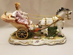 Large Dresden Richard Klemm Hand Painted Figurine Sculpture Lady Horse Carriage