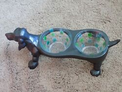 18 Long Vintage Collectible Cast Iron Dachshund Dog Feeder With New Bowls