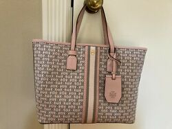 Tory Burch Gemini Link Canvas Zip Top Tote in Pink without crossbody strap $150.00