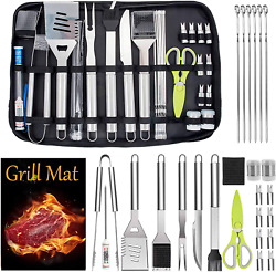 27pcs Bbq Grill Accessories Tools Set Stainless Steel Grilling Barbecue Case New