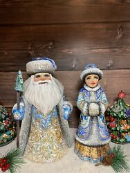 Hand Carved Russian Wooden Santa Snow Maiden Christmas Ornaments