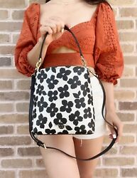 Kate Spade Darcy Small Bucket Bag Crossbody Graphic Blooms White Black Floral $158.00