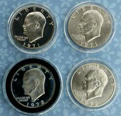 4 Eisenhower 40 Silver S-mint Dollar Coins, 2 Proof 2 Ms, 4 Coins, 1971 And 1972
