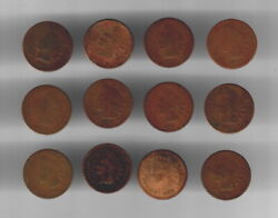 1866-76 And 1878 Indian Cents - Group Of 12 Scarce Coins Low Start