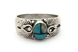 Vintage Native American 925 Silver Multi-stone Inlay Sun Face Ring Band Sz. 7.25