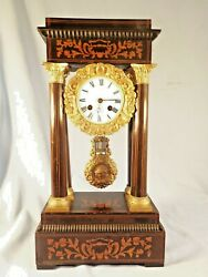 19c French Inlaid Portico Clock In Working Order C1880.