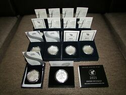 2006-2021 W Burnished American Silver Eagles 14 Coin Complete Set