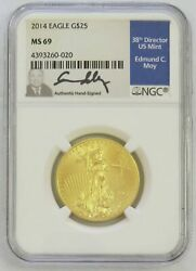 2014 Gold 25 American Eagle 1/2 Oz Coin Moy Signed Ngc Mint State 69