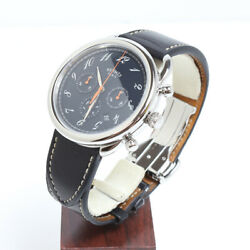 Hermes Arceau Chronograph Ar4.910a Automatic Date Watch 43mm Ss Dark Brown Auth