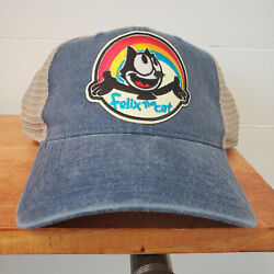Felix The Cat Embroidered Patch Vintage Style Blue And Tan Trucker Hat