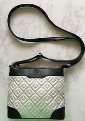 New Quilted Small Cross Body Bag Travel Purse Silver Black Laura Valle Spain $44.99