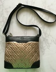 New Quilted Small Cross Body Bag Travel Purse Bronze Black Laura Valle Spain $44.99